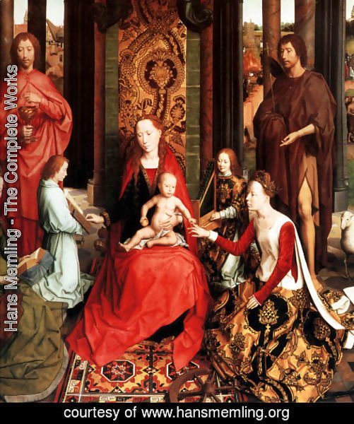 Hans Memling - The Mystic Marriage Of St. Catherine Of Alexandria (central panel of the San Giovanni Polyptch)