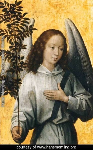 Hans Memling - Angel with an Olive Branch, Emblem of Divine Peace
