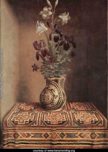 Still Life With A Jug With Flowers The Reverse Side Of The Portrait Of A Praying Man 1480-1485