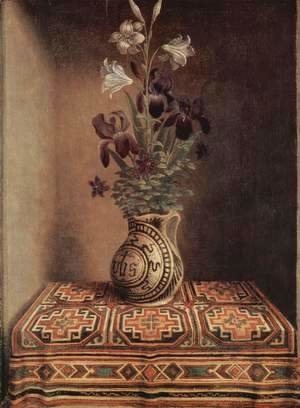 Hans Memling - Still Life With A Jug With Flowers The Reverse Side Of The Portrait Of A Praying Man 1480-1485