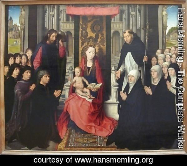 Hans Memling - The Virgin And Child Between St James And St Dominic Presenting The Donors And Their Families Known As The Virgin Of Jacques Floreins