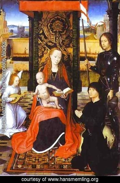 Hans Memling - The Virgin And Child With An Angel St George And A Donor 1470-80