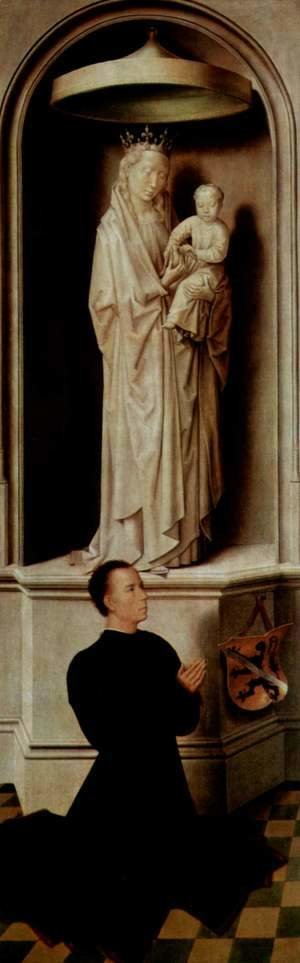 Hans Memling - The Last Judgement, Triptych, left wing, outside, scene Praying founder Angelo Tani and Mary with the child