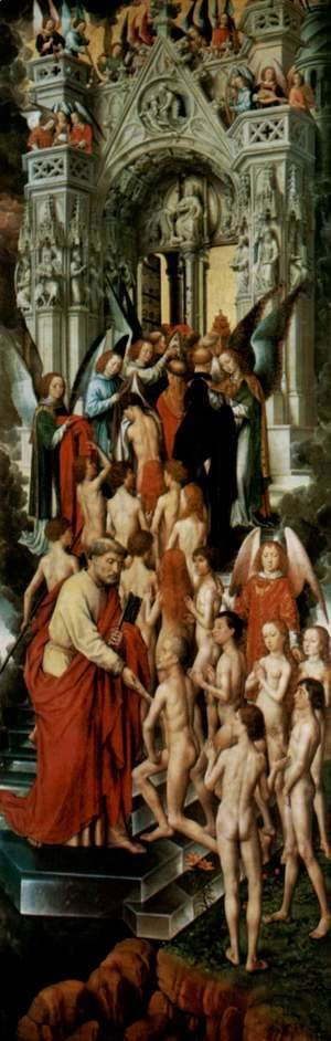 Hans Memling - The Last Judgement, Triptych, left wing, inside the blessed at the gate of heaven (Paradise) with St. Peter