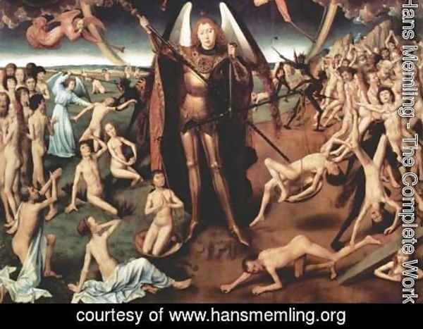 Hans Memling - Last Judgment Triptych, central panel Maiestas Domini and Archangel Michael with the scales weighing the souls, Detail