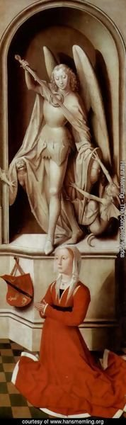 Hans Memling - The Last Judgement, Triptych, right wing, inside praying founder Caterina Tanagli and Archangel Michael