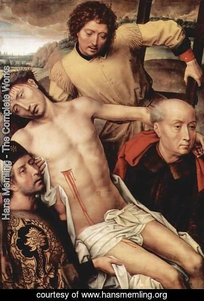 Hans Memling - Granada-diptych, left wing Taking from the Cross