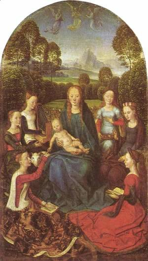Hans Memling - Virgin and Child in a garden, surrounded by saints