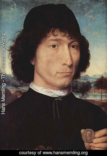 Hans Memling - Portrait of a man with an ancient coin