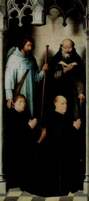 Hans Memling - Triptych of the Mystical Marriage of St. Catherine of Alexandria, left upper, the founder Jacob de Kueninc and Anthony Seghers