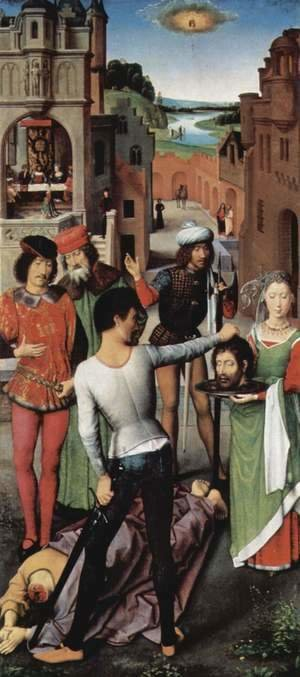 Hans Memling - Triptych of the Mystical Marriage of St. Catherine of Alexandria, left wing, the beheading of John the Baptist