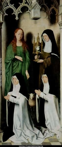Triptych of the Mystical Marriage of St. Catherine of Alexandria, right wing, Agnes and Clara van Casembrood with Nuns