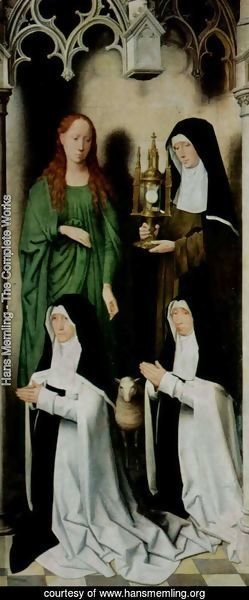 Hans Memling - Triptych of the Mystical Marriage of St. Catherine of Alexandria, right wing, Agnes and Clara van Casembrood with Nuns
