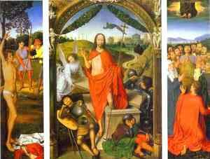 Hans Memling - Triptych of the Resurrection The Resurrection (centre) The Martyrdom of St. Sebastian (left) and The Ascension (right)