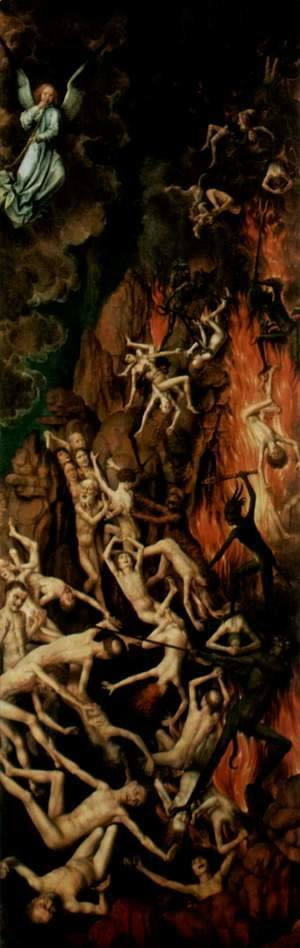 The Last Judgment, triptych, right wing Casting the Damned into Hell