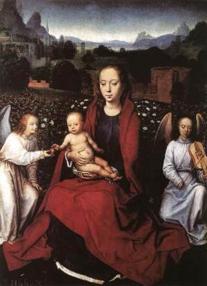 Hans Memling - Virgin and Child in a Rose-Garden with Two Angels 1480s