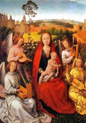 Hans Memling - Virgin and Child with Musician Angels 1480