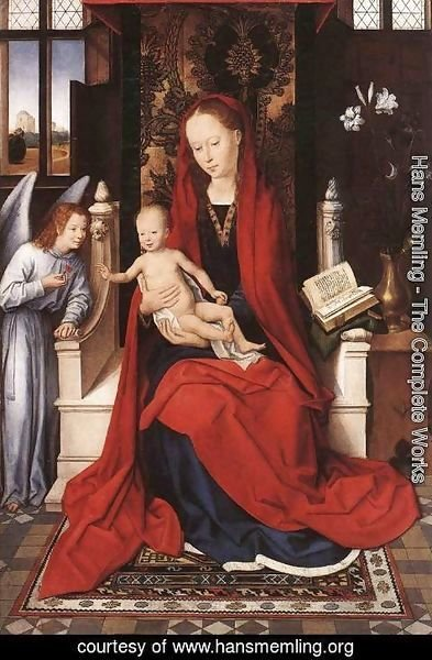 Hans Memling - Virgin Enthroned with Child and Angel c. 1480