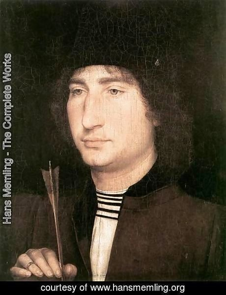 Hans Memling - Portrait of a Man with an Arrow 1478-80