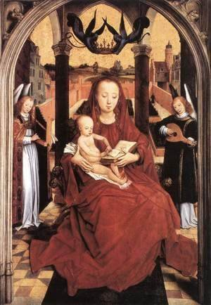Hans Memling - Virgin And Child Enthroned With Two Musical Angels