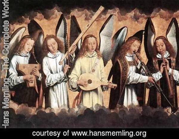Hans Memling - Angel Musicians (left panel) 1480s