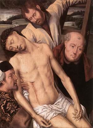 Hans Memling - Deposition (left wing of a diptych) 1490s