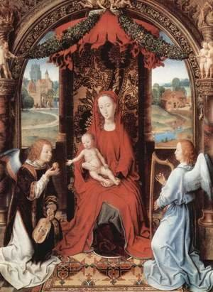 Hans Memling - Madonna Enthroned with Child and Two Angels 1490-91