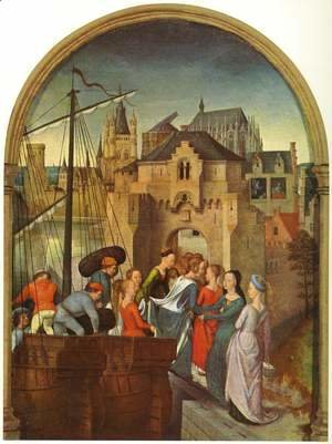 Hans Memling - St Ursula Shrine- Arrival in Cologne (scene 1) 1489