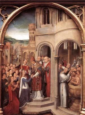Hans Memling - St Ursula Shrine- Arrival in Rome (scene 3) 1489