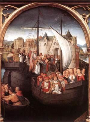 Hans Memling - St Ursula Shrine- Departure from Basle (scene 4) 1489
