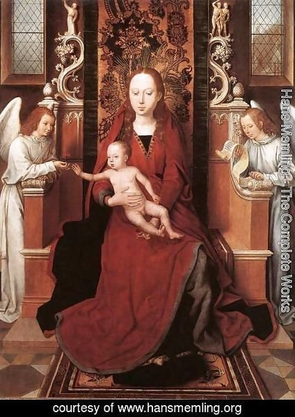 Hans Memling - Virgin and Child Enthroned with Two Angels 1485-90
